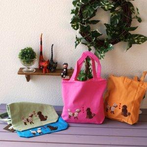 画像1: 刺繍入りコットンミニバッグ(トイプードル)全4色