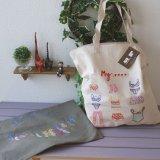 コットンビッグサイズバッグ(刺繍、パッチワーク)全5色
